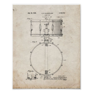 Snare Drum Patent - Old Look Poster