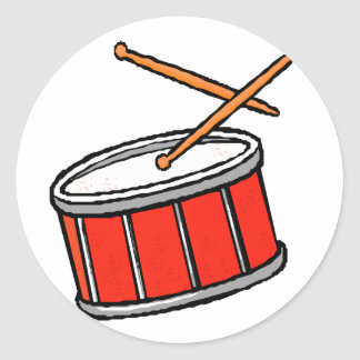 Snare Drum Red Classic Round Sticker