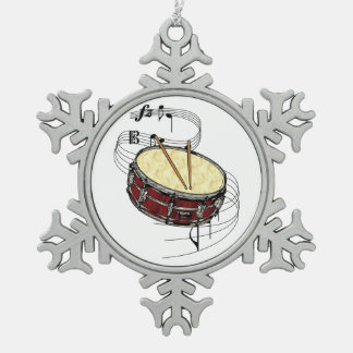 Snare Drum Snowflake Pewter Christmas Ornament