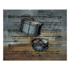 Snare Drums ~ Sheet Music On Barnwood  Background Poster