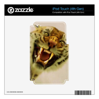 Snarling Bengal Tiger Big Cat Wildlife Art iPod Touch 4G Decals