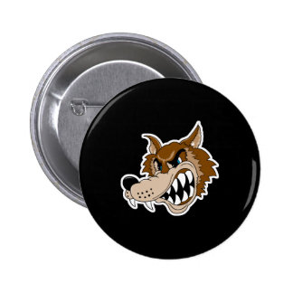snarling brown wolf face button