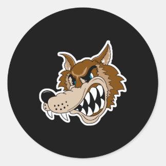 snarling brown wolf face sticker