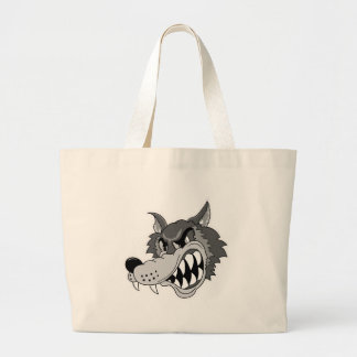 snarling grey wolf face large tote bag