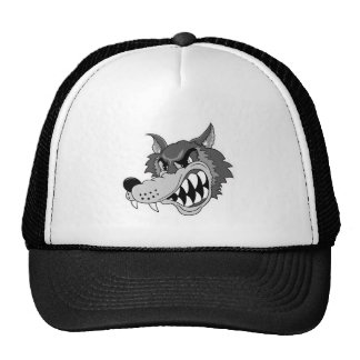snarling grey wolf face trucker hat