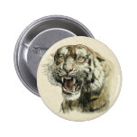 Snarling Tiger 2 Inch Round Button