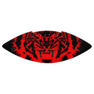 Snarling Tiger Artwork in Black a Red Football