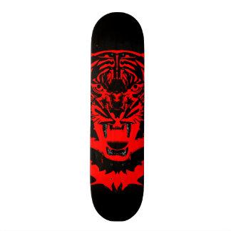 Snarling Tiger Artwork in Black and Red Skateboard Deck
