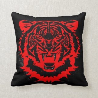 Snarling Tiger in Black and Red Throw Pillow