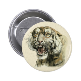 Snarling Tiger Pinback Button