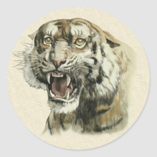 Snarling Tiger Round Stickers