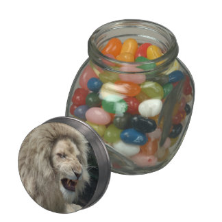 Snarling White Lion Glass Candy Jars