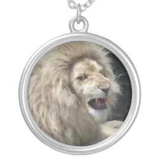 Snarling White Lion Round Pendant Necklace