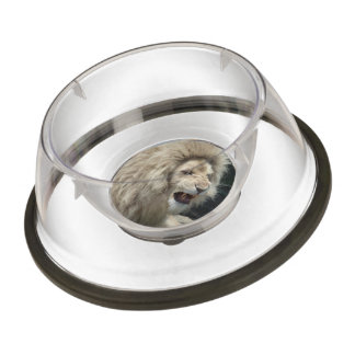 Snarling White Lion Pet Bowl