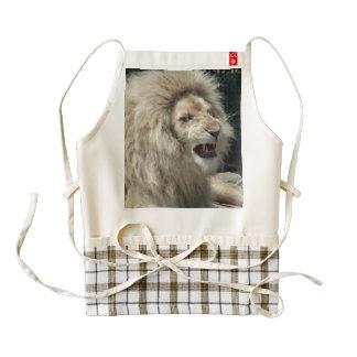 Snarling White Lion Zazzle HEART Apron