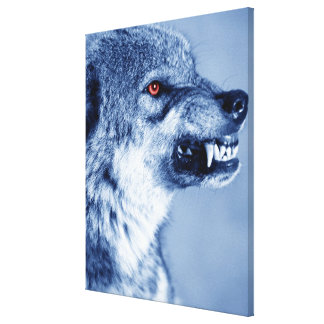 Snarling wolf (Canis Lupus), profile (Digital Canvas Print