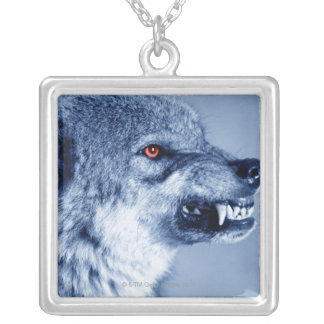 Snarling wolf (Canis Lupus), profile (Digital Silver Plated Necklace