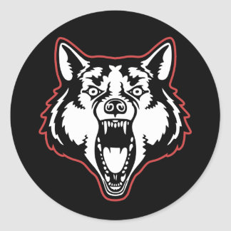 Snarling Wolf Classic Round Sticker
