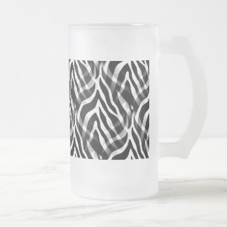 Snazzy Black and White Zebra Stripes Print 16 Oz Frosted Glass Beer Mug