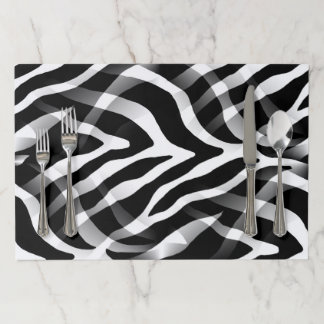 Snazzy Black and White Zebra Stripes Print Paper Placemat