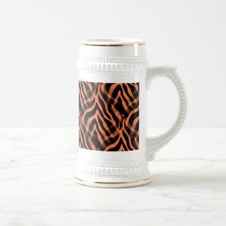 Snazzy Coral Zebra Stripes Print Beer Stein