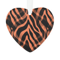 Snazzy Coral Zebra Stripes Print Ornament