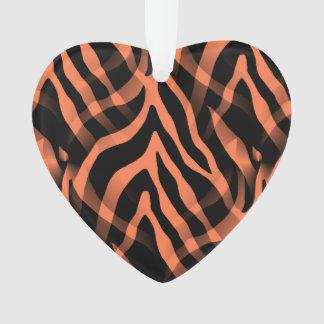 Snazzy Coral Zebra Stripes Print Ornament