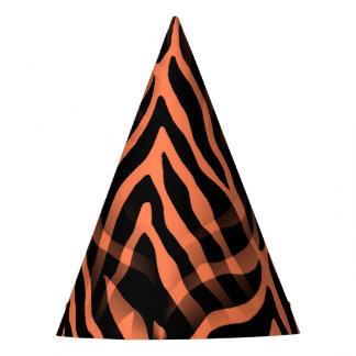 Snazzy Coral Zebra Stripes Print Party Hat