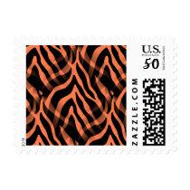 Snazzy Coral Zebra Stripes Print Postage