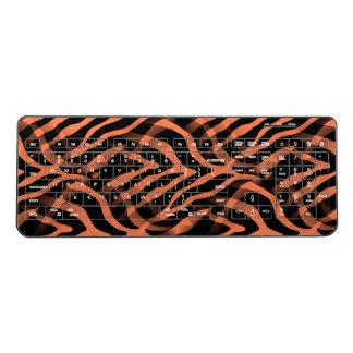 Snazzy Coral Zebra Stripes Print Wireless Keyboard