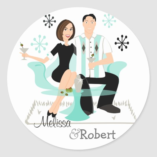 Snazzy Couple Classic Round Sticker