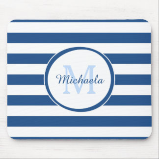Snazzy Deep Blue Solid Stripes Name and Monogram Mouse Pad