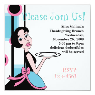 """Snazzy Dinner 5.25"""" Square Invitation Card"""