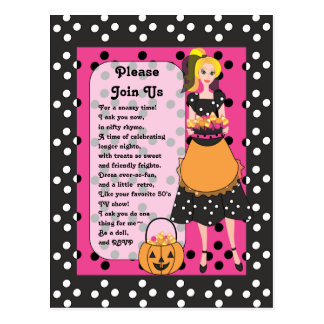 Snazzy Halloween Hostess Postcard