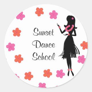 Snazzy Hula Dancer Classic Round Sticker