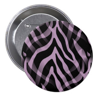 Snazzy Lavender Purple Zebra Stripes Print 3 Inch Round Button