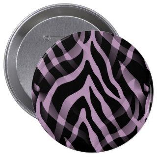 Snazzy Lavender Purple Zebra Stripes Print 4 Inch Round Button