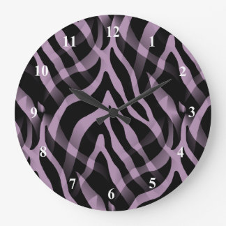 Snazzy Lavender Purple Zebra Stripes Print Large Clock