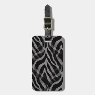 Snazzy Neutral Gray Zebra Stripes Print Bag Tag