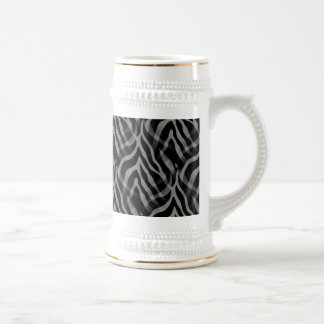 Snazzy Neutral Gray Zebra Stripes Print Beer Stein