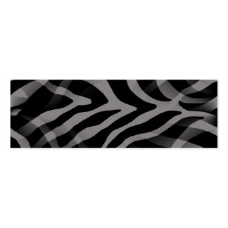 Snazzy Neutral Gray Zebra Stripes Print Double-Sided Mini Business Cards (Pack Of 20)