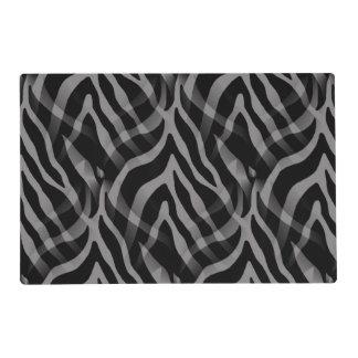 Snazzy Neutral Gray Zebra Stripes Print Laminated Place Mat