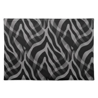 Snazzy Neutral Gray Zebra Stripes Print Cloth Placemat