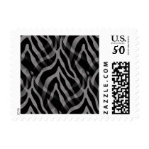 Snazzy Neutral Gray Zebra Stripes Print Postage
