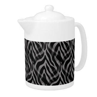 Snazzy Neutral Gray Zebra Stripes Print Teapot