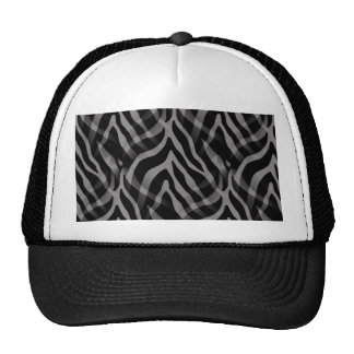 Snazzy Neutral Gray Zebra Stripes Print Trucker Hat