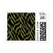 Snazzy Olive Green Zebra Stripes Print Postage