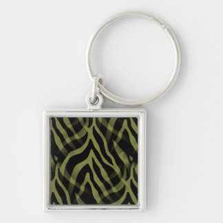 Snazzy Olive Green Zebra Stripes Print Silver-Colored Square Keychain