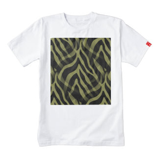 Snazzy Olive Green Zebra Stripes Print Zazzle HEART T-Shirt