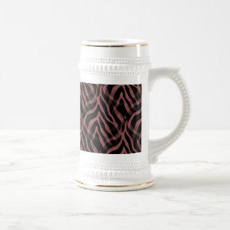 Snazzy Red Wine Zebra Stripes Print Beer Stein